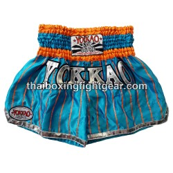 yokkao-pinstripe-satin-muay thai-short-sky blue orange