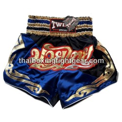 twins special muay thai boxing short blue-brown