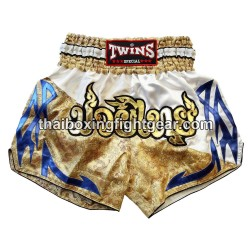 twins special-muay-thai boxing-short/ gold white