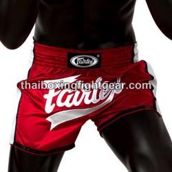 Fairtex muay thai boxing shorts slim cut red-white