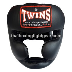 Twins HGL3 Boxing Sparring Head Guard Black Leather