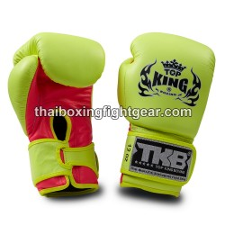 Top King Muay Thai boxing gloves TKBGDL double lock Neon yellow