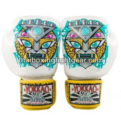 Yokkao Muay Thai Boxing Gloves APEX Leopard White