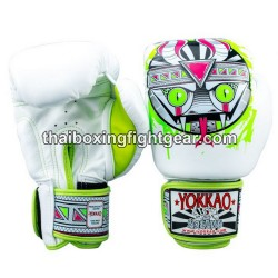 Yokkao Muay Thai Boxing Gloves APEX Snake White
