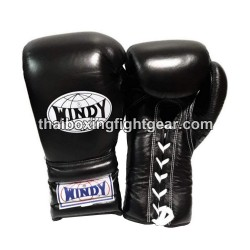 Windy Thaiboxing Gloves Black Lace Up