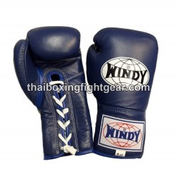Windy Thaiboxing Gloves Blue Lace Up