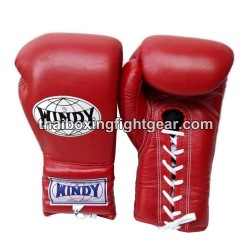 Windy Thaiboxing Gloves Red Lace Up
