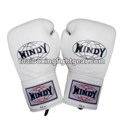 Windy Thaiboxing Gloves White Lace Up