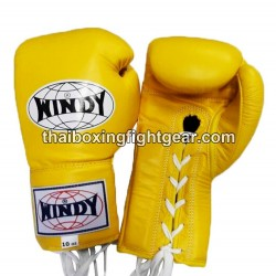 Windy Thaiboxing Gloves Yellow Lace Up