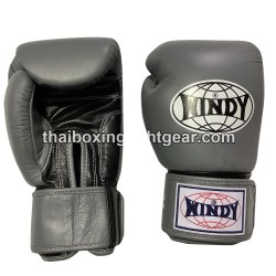 Windy Thaiboxing Gloves Velcro Gray Black