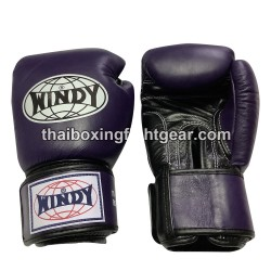 Windy Thaiboxing Gloves Velcro Purple Black
