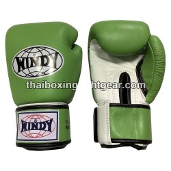 Windy Thaiboxing Gloves Velcro Green White