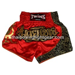 Twins Muay Thai Short Satin Red Gold