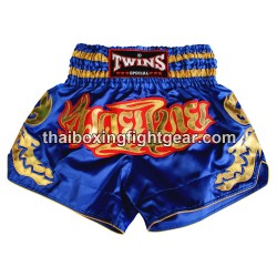 Short de boxe Thai Twins satin bleu or