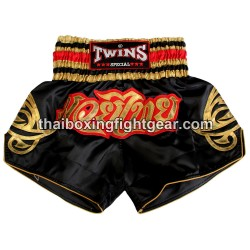 Twins Muay Thai Short Satin Black /Gold