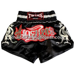 Twins Muay Thai Short Satin Black/Silver
