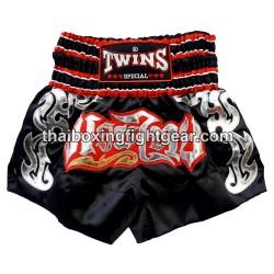 Twins Muay Thai Short Satin Black/Red