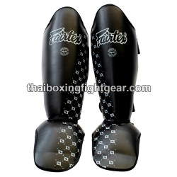 Fairtex Muay Thai/MMA Competition Shin Guards, Leather Black