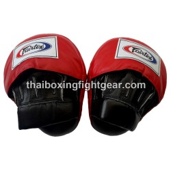 Fairtex Muay Thai/MMA Curved Punching Mitts, Leather Black/Red