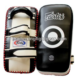 Fairtex Muay Thai / MMA Kicking pads, Leather  White / Black KPLC1