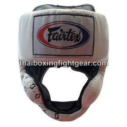 Fairtex HG-10 Muay Thai/MMA Super Sparring Head Guard lace up Leather White